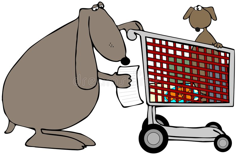 Mom Dog With A Shopping Cart royalty free illustration