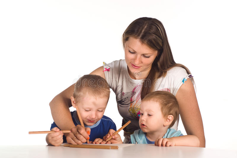 Mom Drawing With Sons Stock Photos