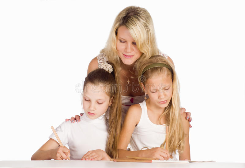 Download Mom draws with daughters stock image. Image of girls - 20610313