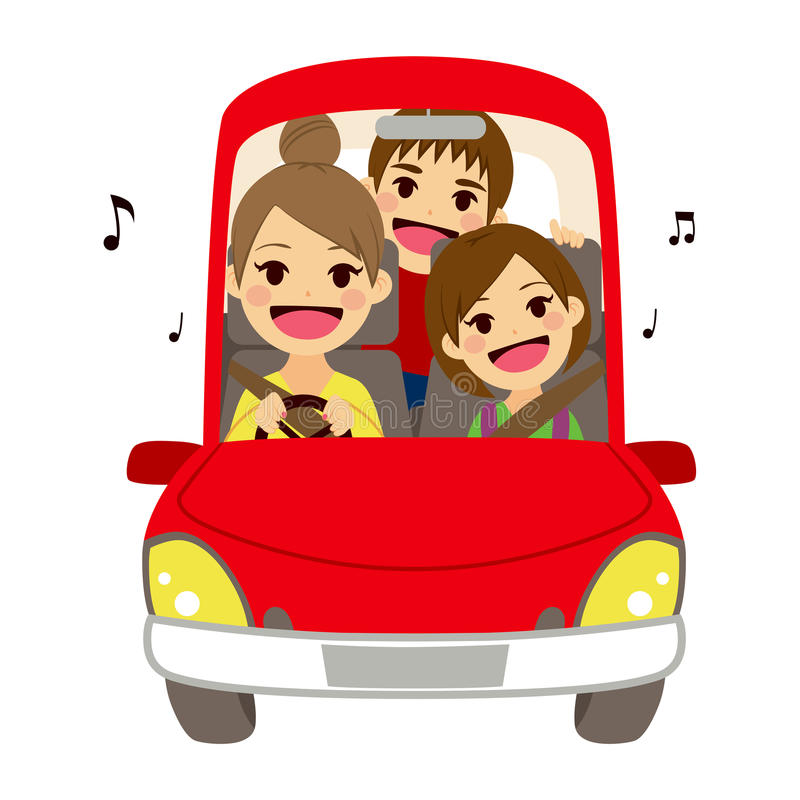 Girl Driving A Car Clipart