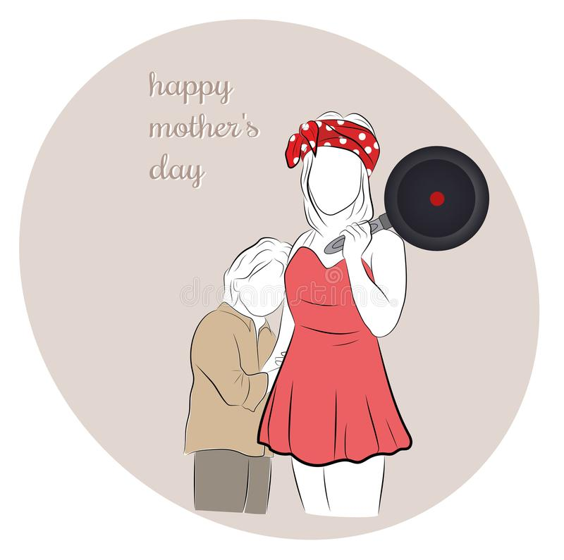 Mom with a frying pan hugs the baby. happy mother`s day. vector illustration. Mom with a frying pan hugs the baby. happy mother`s day. vector illustration vector illustration