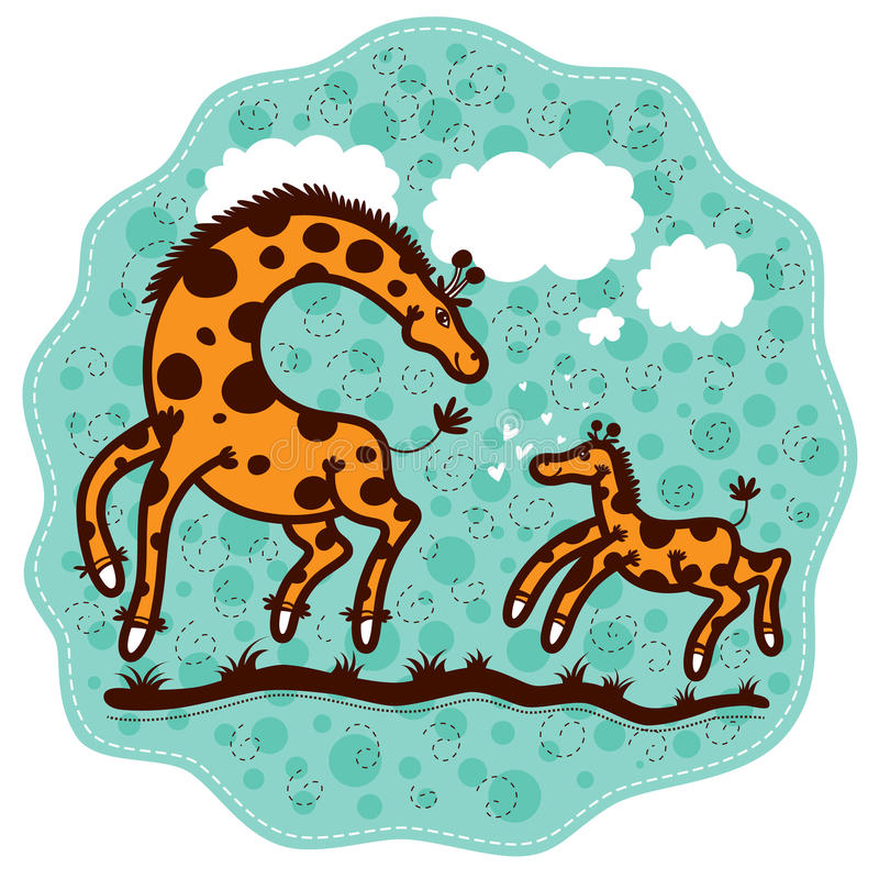 Mom giraffe and her calf stock illustration
