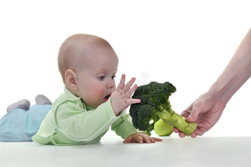 Mom give the baby a fresh broccoli royalty free stock photo