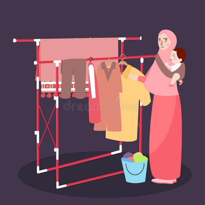 Mom hanging clothes on the line wearing veil while bring baby. Vector royalty free illustration