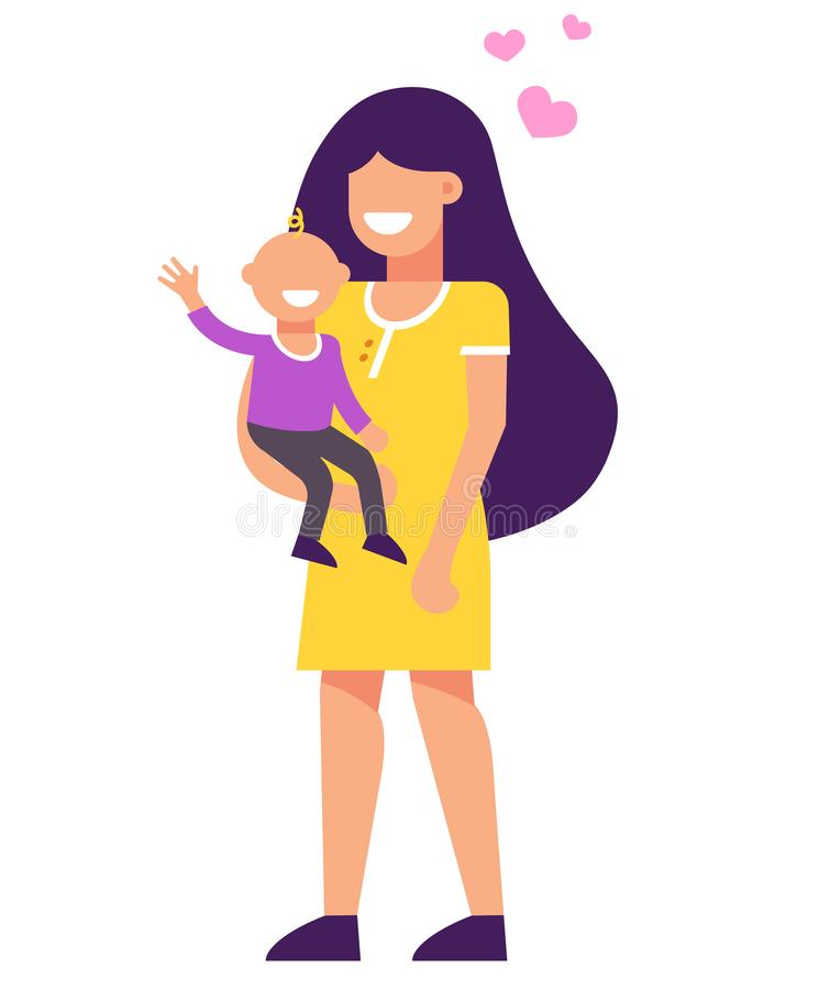 Mom has a baby in her arms. they are happy. stock illustration