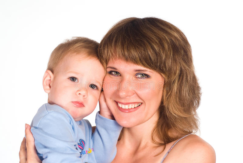 Download Mom with her baby stock photo. Image of together, white - 21047946