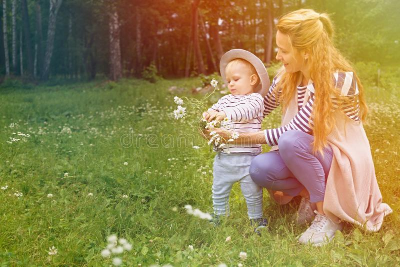 Mom and her little son love to relax and walk in a summer park on a green flower meadow royalty free stock images
