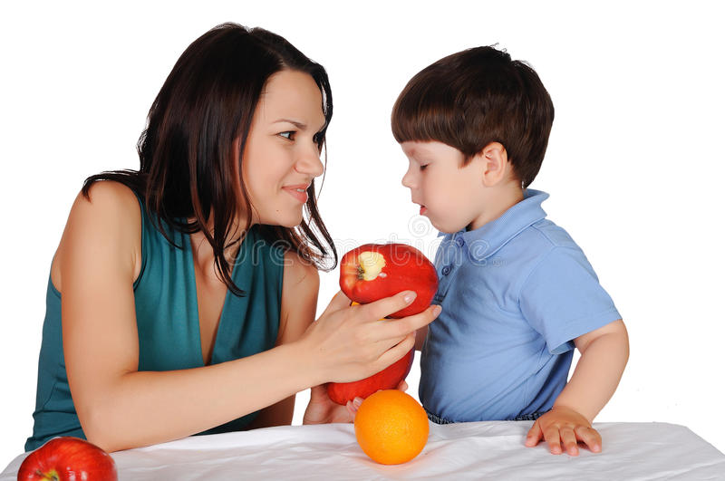 Mom and her son stock image