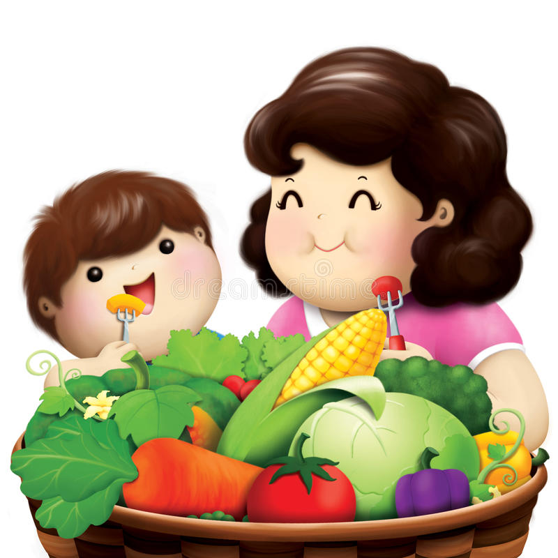 mom and her son enjoy eating vegetable royalty free illustration
