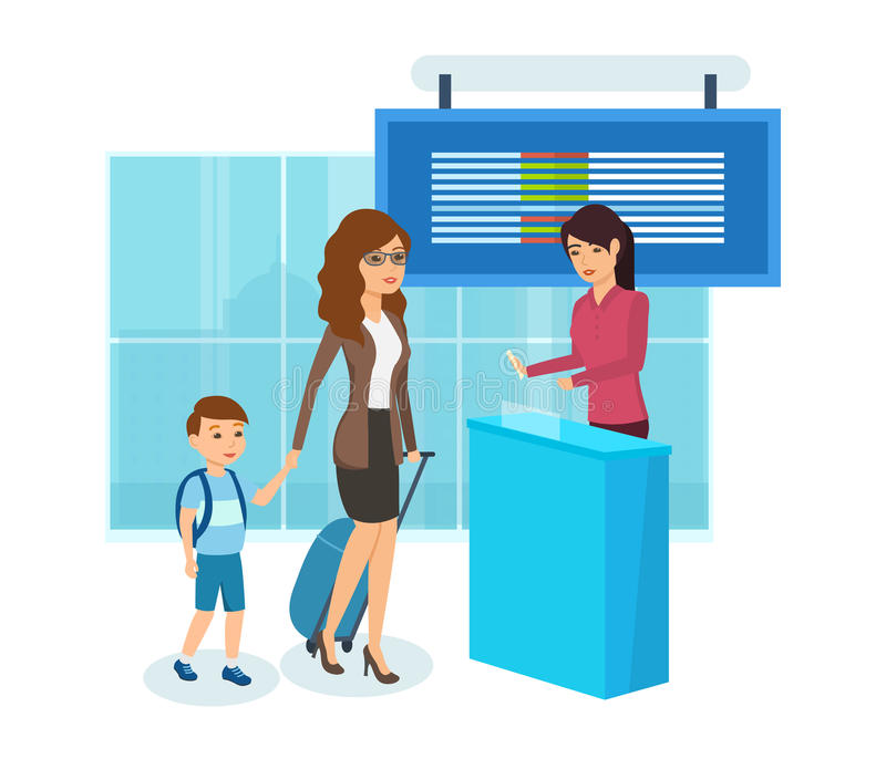 Mom and his son buy a ticket for the plane. People traveling concept. Mom and his son buy ticket for the plane, planning flight and spending vacation in warm vector illustration
