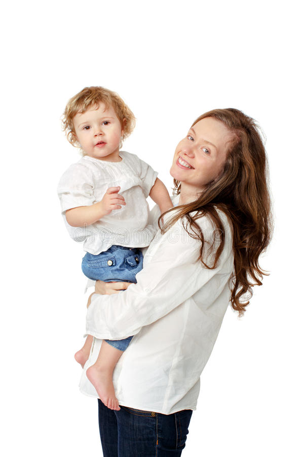 Mom holding the baby in her arms isolated royalty free stock image