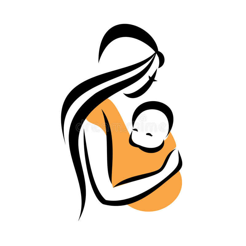 Mom holding her baby royalty free illustration