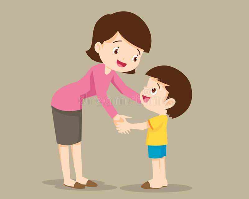 Mom hugging her child boy and talking to him stock illustration