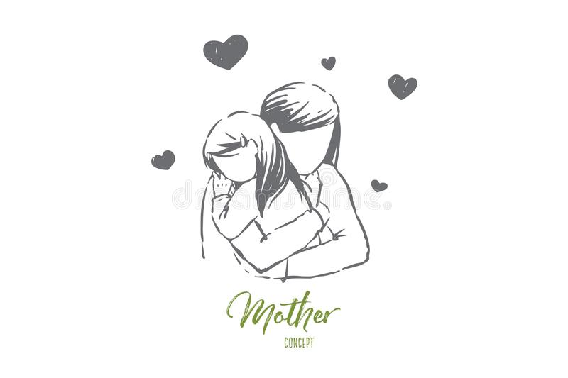 Mom hugs daughter, young woman and little girl embrace, faceless parent, happy motherhood, mother day. Feminine happiness, parental care and love concept royalty free illustration