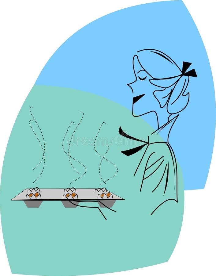 Mom i kök stock illustrationer