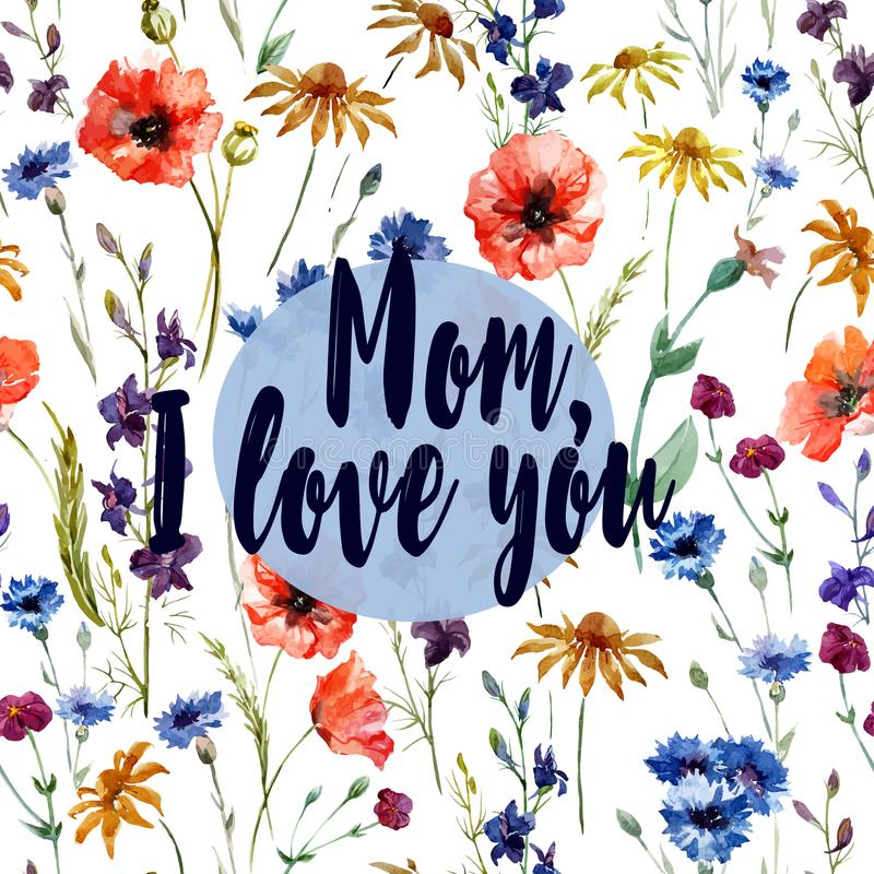 Mom I love you - greeting card. Flower watercolor pattern royalty free illustration