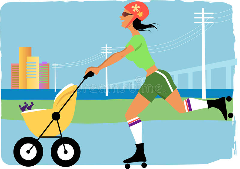 Mom jogging with a stroller. Young woman roller skating with a stroller, cityscape on the background, illustration royalty free illustration