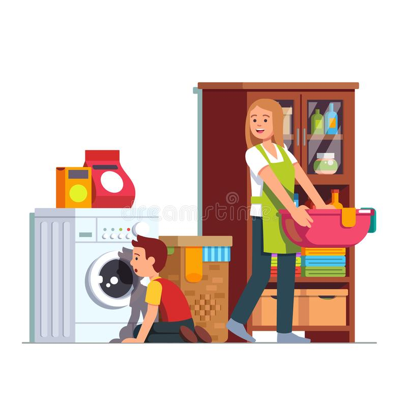 Mom and kid doing housework at home laundry room. Mother doing housework at home laundry room. Kid sitting in front of washing machine watching drum. Housewife vector illustration