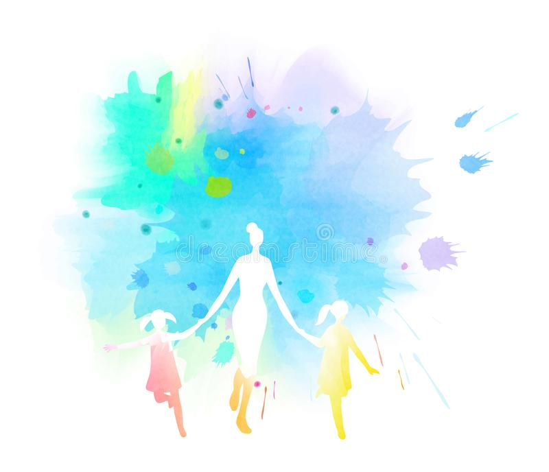 Mom with kids running silhouette plus abstract watercolor painted. Mother and children exercise. Health care concept. Digital art. Painting stock illustration