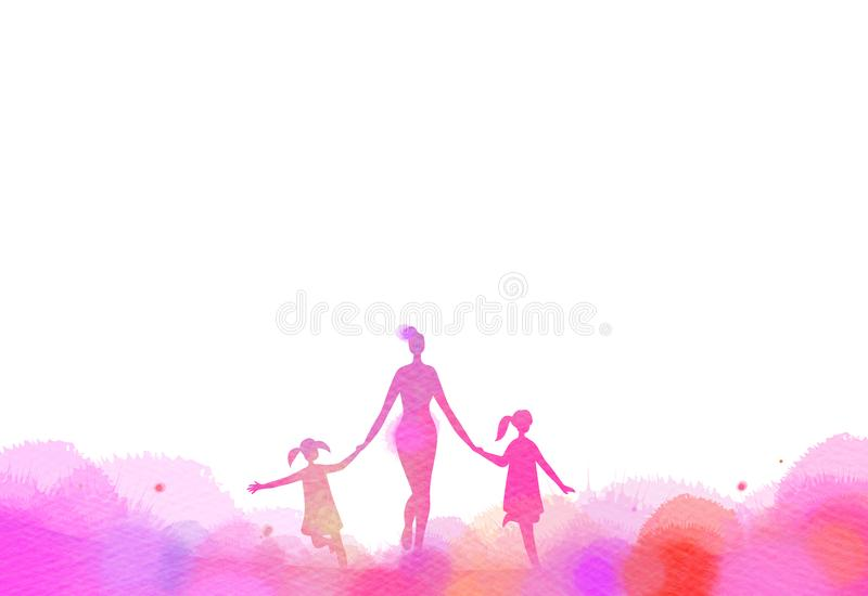 Mom with kids running silhouette plus abstract watercolor painted. Mother and children exercise. Health care concept. Digital art royalty free illustration