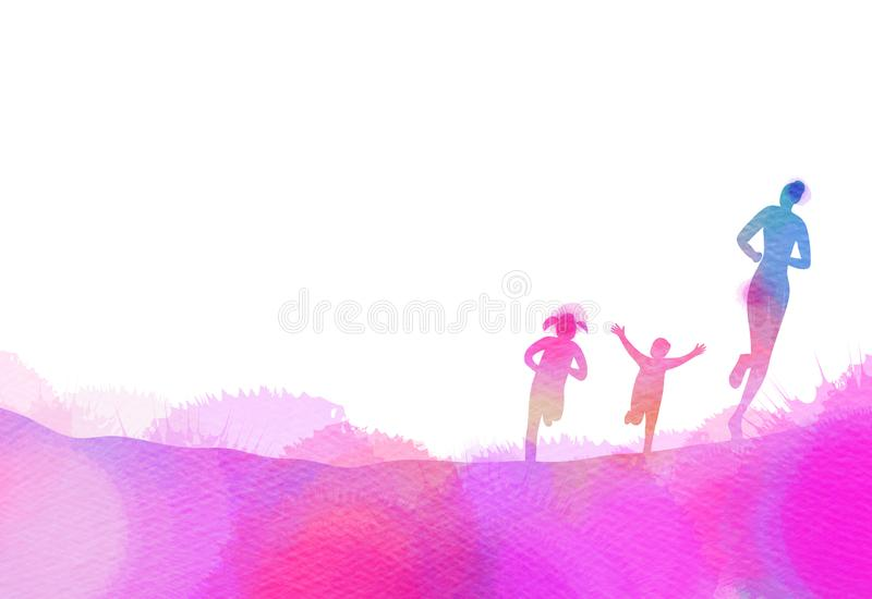 Mom with kids running silhouette plus abstract watercolor painted. Mother and children exercise. Health care concept. Digital art. Painting vector illustration