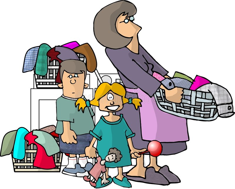 Download Mom, Kids And Their Laundry Stock Illustration - Illustration of daughter, doll: 48772