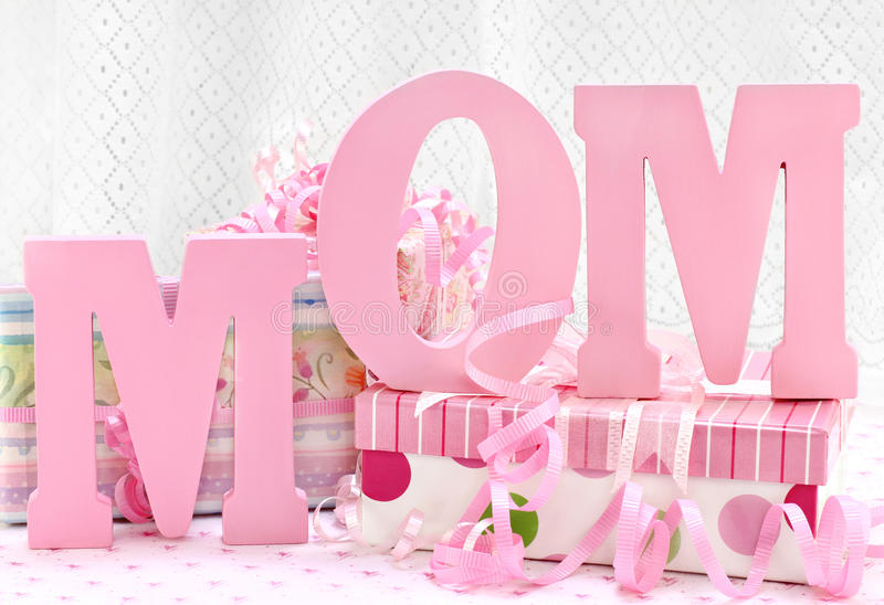 Download MOM Letters And Pretty Wrapped Gifts Stock Image - Image: 19179945