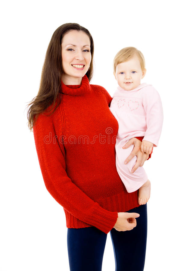 Mom and the little baby, a happy family royalty free stock image