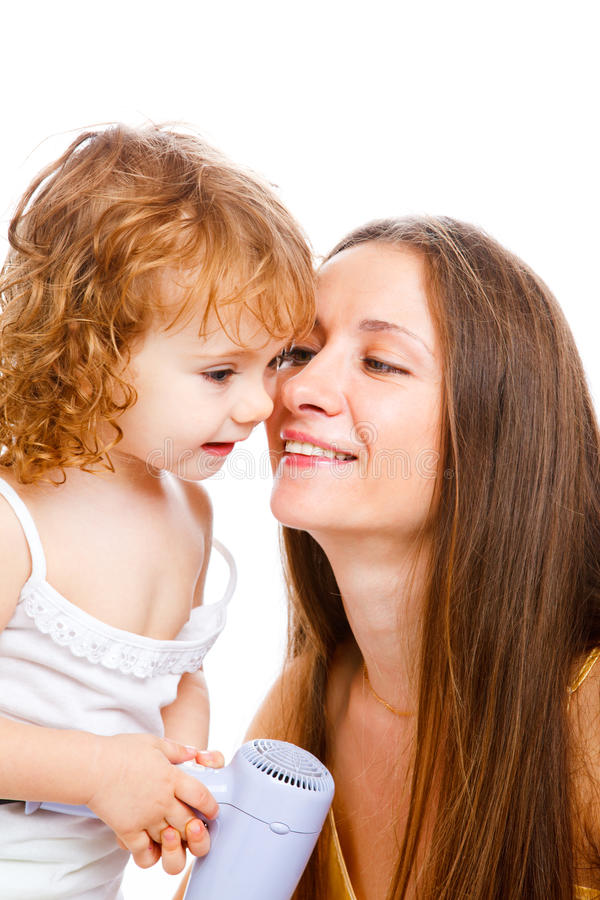 Download Mom and lovely girl stock image. Image of isolated, caring - 12484925