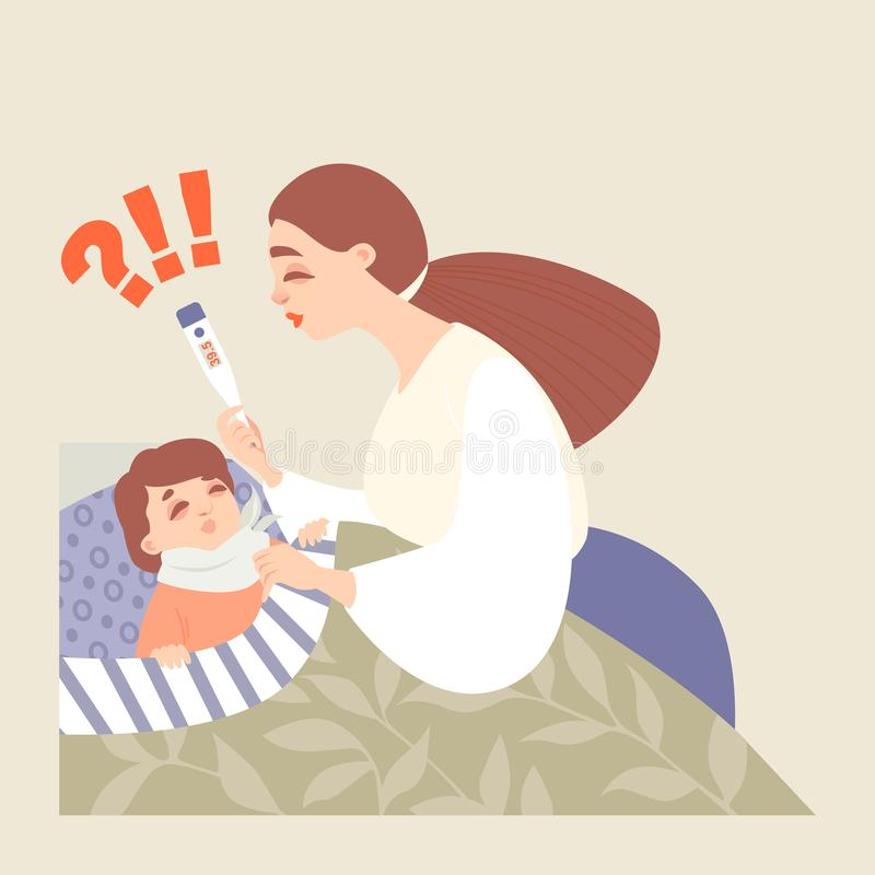 Mom measures the temperature of her sick baby lying in bed stock illustration
