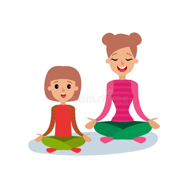 Mom meditating with her daughter. Mother and daughter doing yoga together in lotus position, sport family and physical. Activity with children vector stock illustration