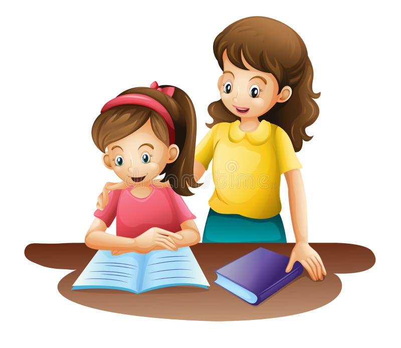 Mom och unge royaltyfri illustrationer