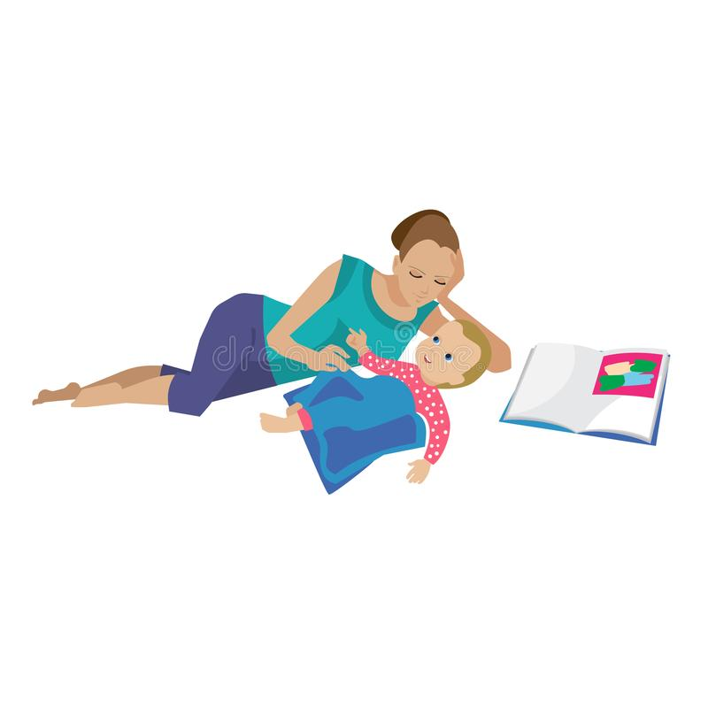 Mom puts son to bed, reads fairy tales from books. Mother and baby in different lifestyle situations. Happy family. Mom puts her son to bed, reads fairy tales stock illustration