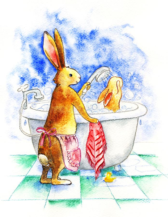 The mom-rabbit washes the baby hare in the bath with water from the shower. Watercolor illustration. Drawn by hand royalty free illustration