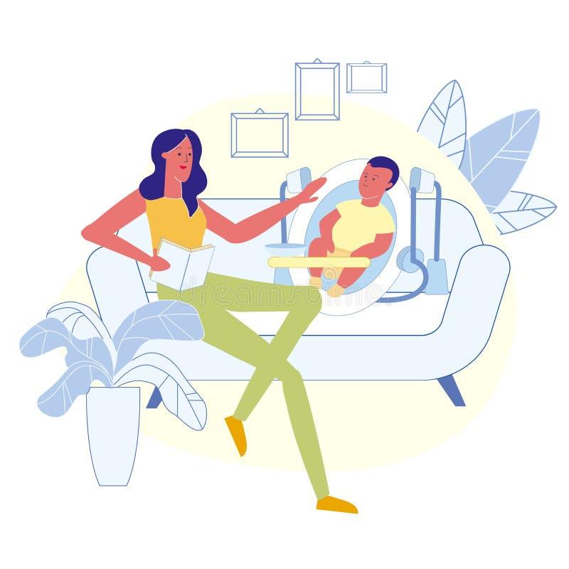 Mom Reading Baby Story Flat Vector Illustration stock illustration