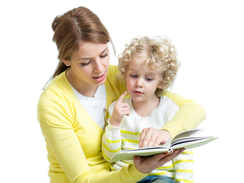 Mom reading a book to kid royalty free stock image