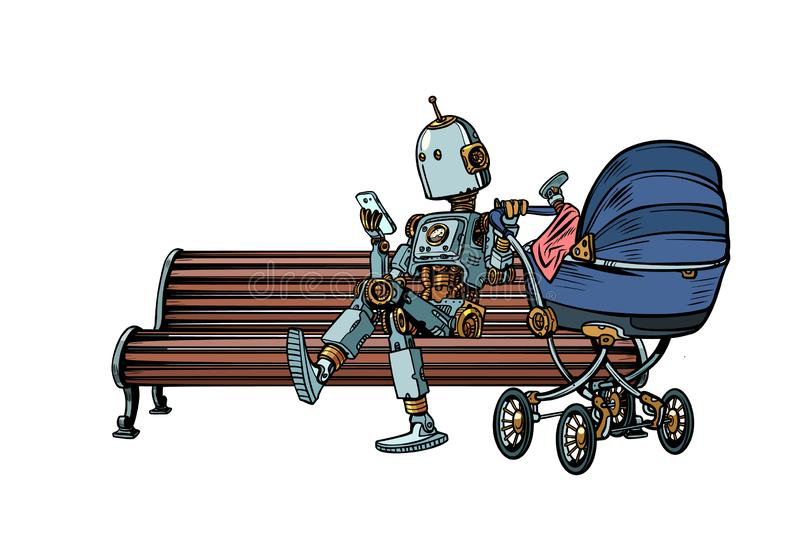 Mom robot resting in the Park with a baby stroller. motherhood. Pop art retro vector illustration kitsch vintage stock illustration
