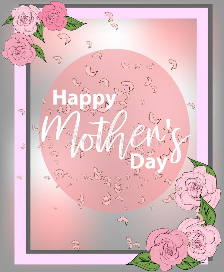 Mom\'s day greeting poster design. Happy Mother\'s Day. card with hand writting lettering and spring flowers on pink background. Mom\'s day greeting poster vector illustration