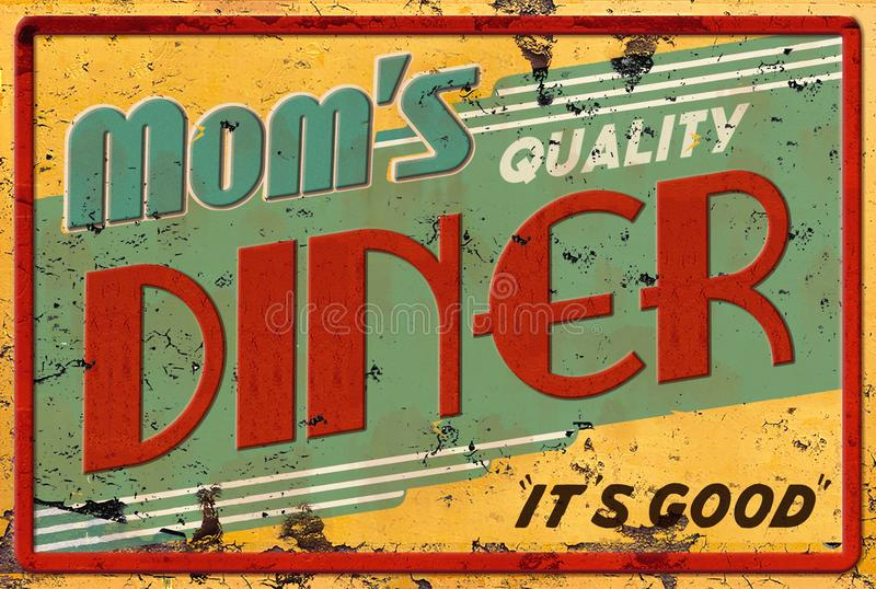 Mom`s Diner Cafe Restaurant Sign. Retro Vintage Roadside Diner Rusted Sign with Arrow 24 Hours Open Cafe Mom`s Quality stock illustration