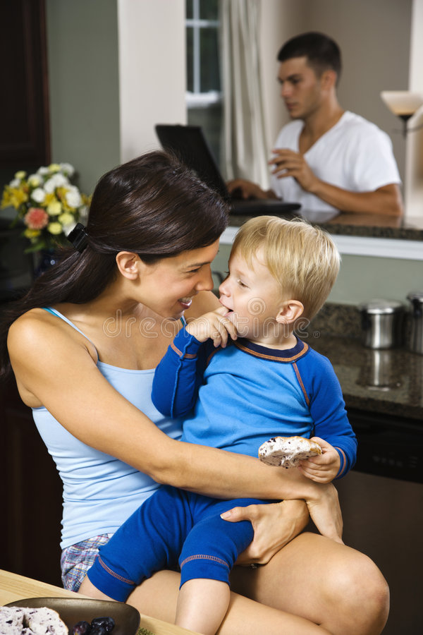 Download Mom and son. stock photo. Image of color, kitchen, hispanic - 3423470