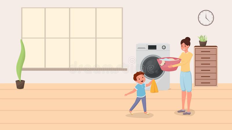 Mom and son doing laundry illustration. Happy child helping mother doing domestic chores, housekeeping. Parent with kid. Loading clothes in modern washing royalty free illustration