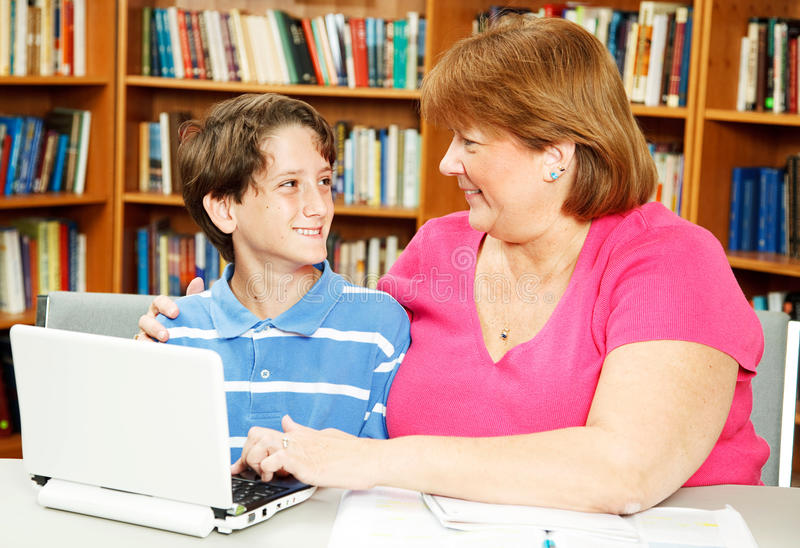 Download Mom And Son In Library Stock Image - Image: 20519541