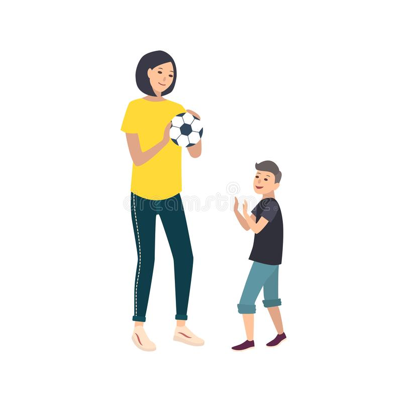Mom and son playing football or soccer. Mother and boy child performing sports game activity. Cute cartoon characters stock illustration