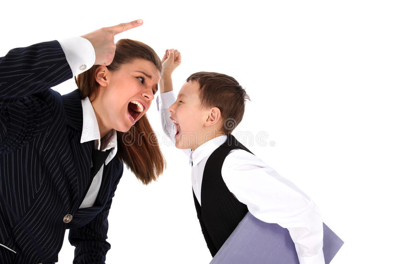 Mom And Son (or Teacher And Boy) Royalty Free Stock Images