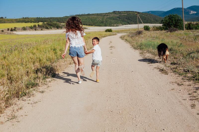 Mom and son walk with dog in yellow field royalty free stock image