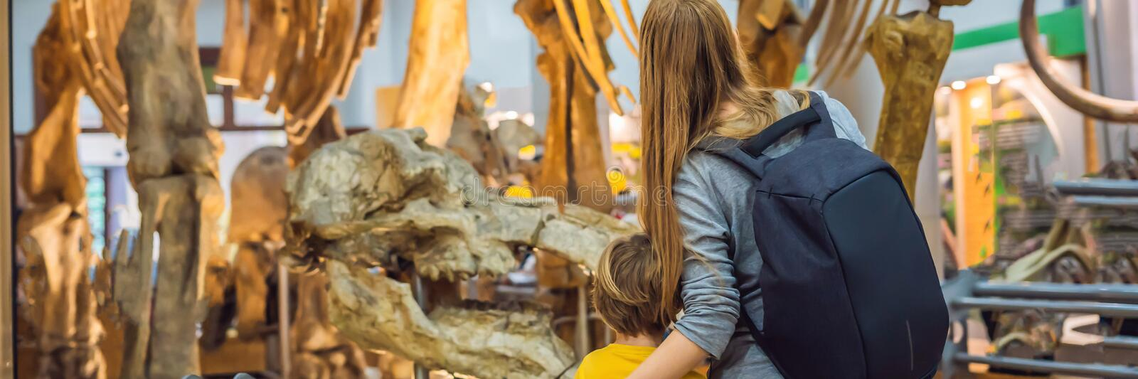 Mom and son watching dinosaur skeleton in museum BANNER, LONG FORMAT royalty free stock images