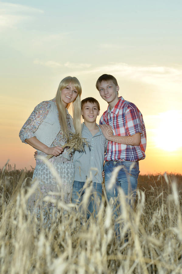 Mom and sons in the field stock photo