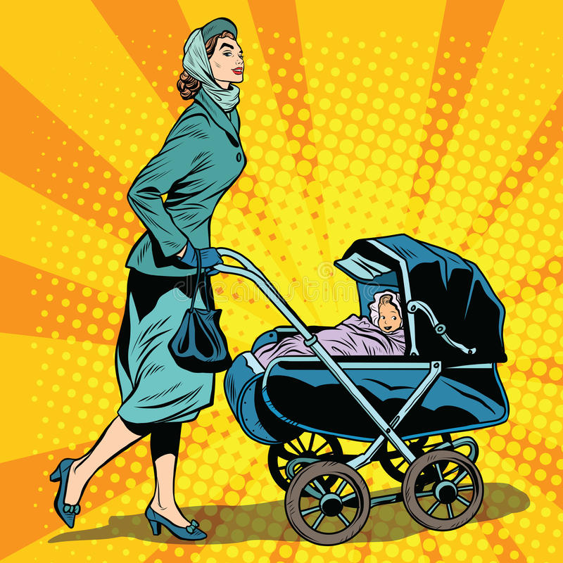 Mom and stroller with baby. Pop art retro style. Mom walks with baby in the fresh air. Mom in the Park vector illustration