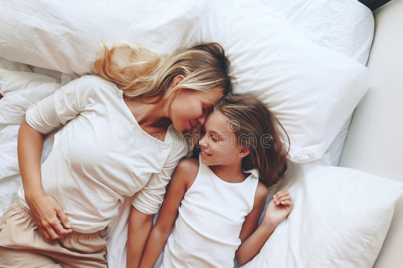 Mom with tween daughter royalty free stock photography