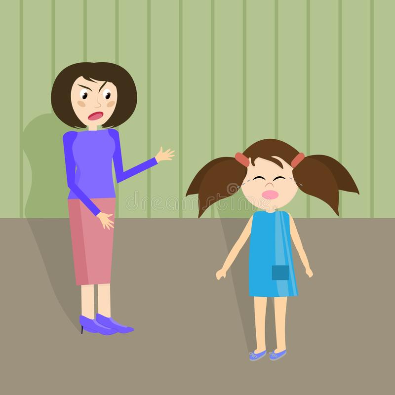 Mom yells at her daughter. Adults scream at the children. Aggression in the family. Vector illustration royalty free illustration
